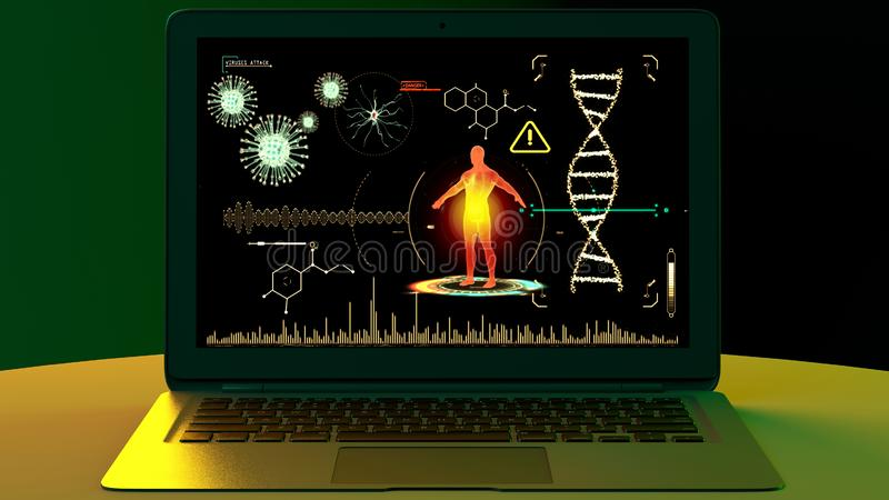 Human body attacked by viruses, scientific research. Genetic experimentation. Data reprocessing. Study program to eradicate the virus, experiment in the stock photo