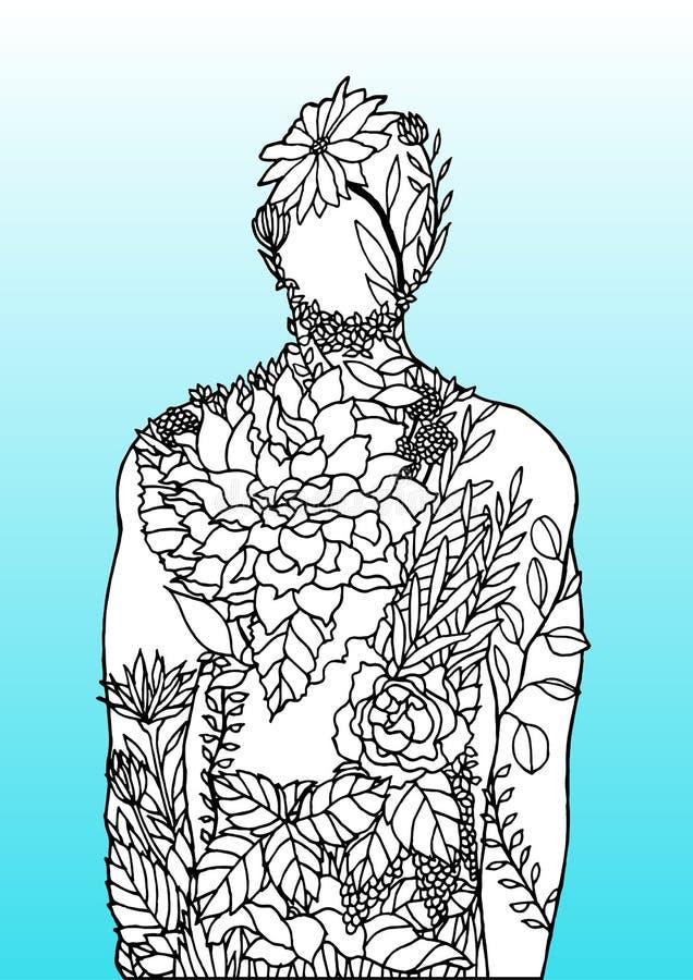 Human body flower blue background spirit power energy  abstract art illustration design hand drawn stock illustration