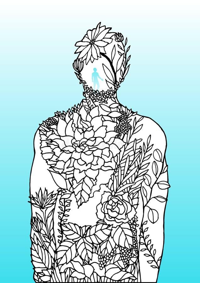 Human body flower man inside spirit power energy  abstract art illustration design hand drawn. Human body flower man inside spirit power energy  abstract art vector illustration
