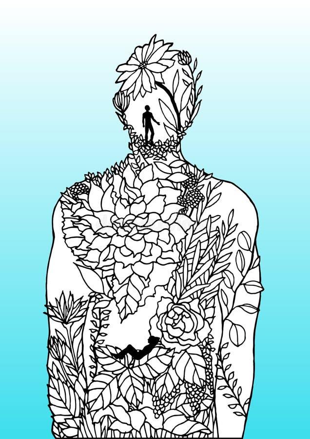 Human body flower man inside spirit power energy  abstract art illustration design hand drawn. Human body flower man inside spirit power energy  abstract art royalty free illustration