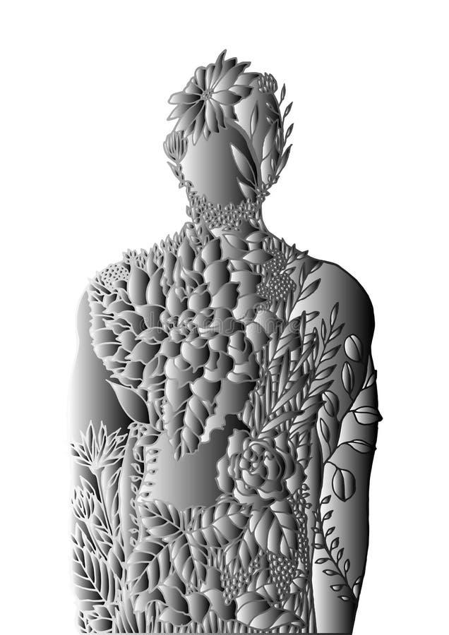 Human body flower spirit power energy  abstract art illustration design hand drawn. Human body flower spirit power energy  abstract art illustration design hand vector illustration