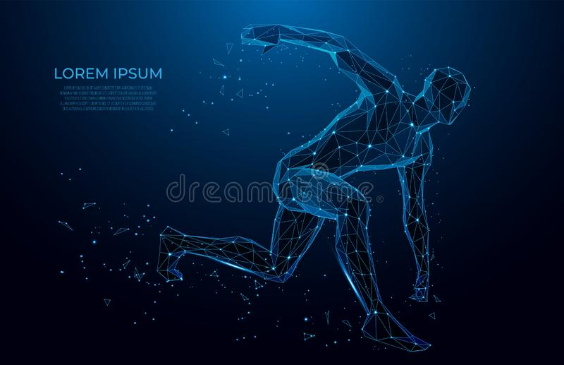 Human body low poly wireframe. Athlete, Running man from triangles, low poly style. sport concept. Polygonal wireframe mesh art. Human body low poly wireframe vector illustration