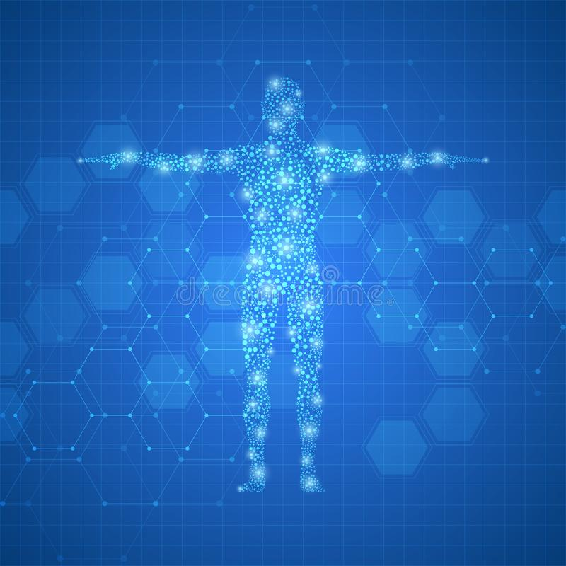 Human body with molecules DNA on medical abstract background. stock illustration
