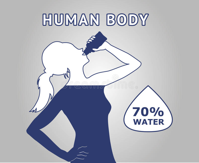Human body water. Seventy percent of a human body is water. Poster with girl silhouette drinking water royalty free illustration