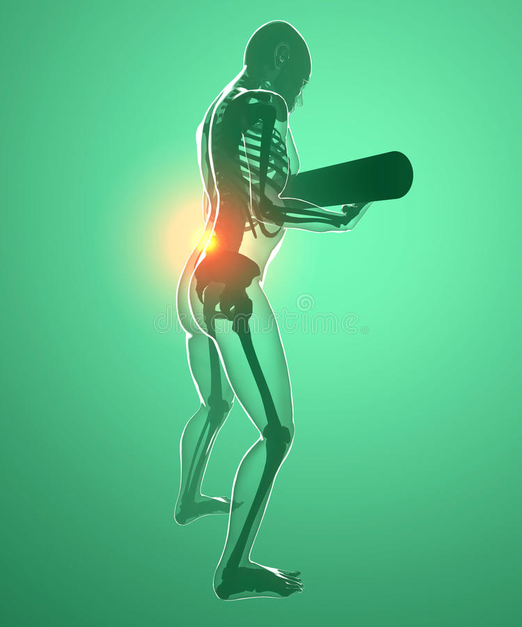 Human body with a weight and back pain, x-ray vector illustration