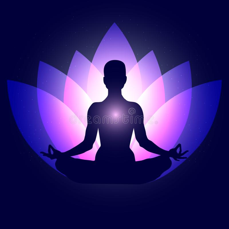 Human body in yoga lotus asana on neon purple lotus petals and dark blue space with stars background. Vector illustration eps10 stock illustration