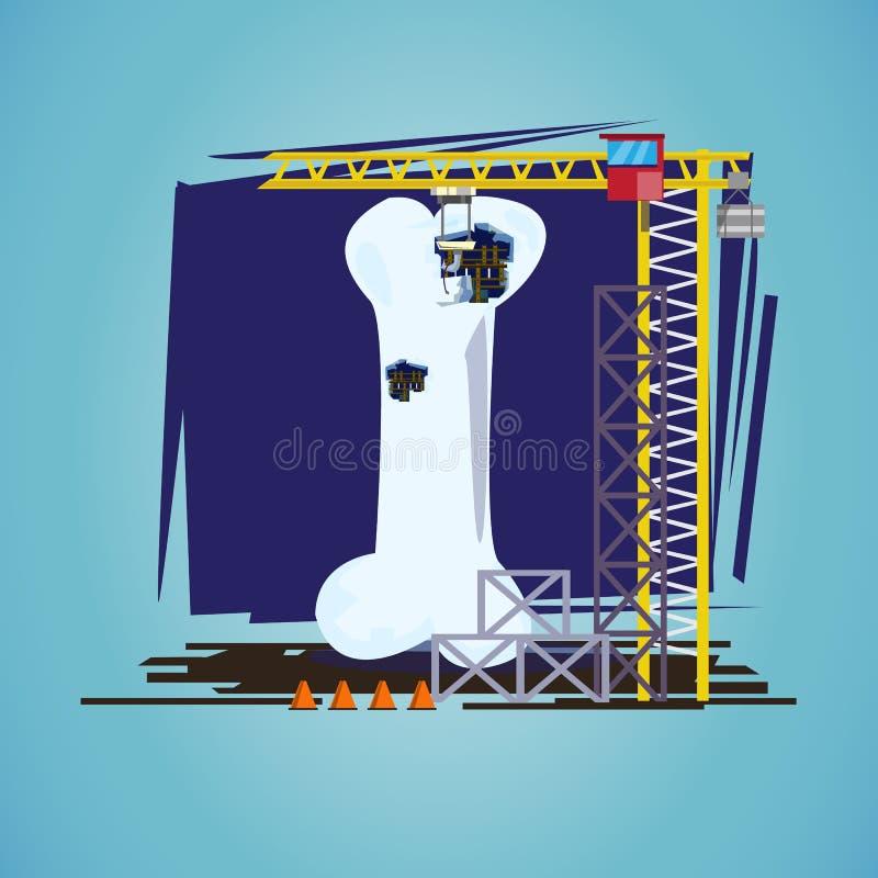 human bone with hoisting crane. treatment procedure, osteoporosis conceptual - vector vector illustration