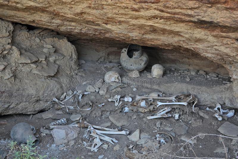 Human bones and skulls near rock-hewn church. In Ethiopia royalty free stock images