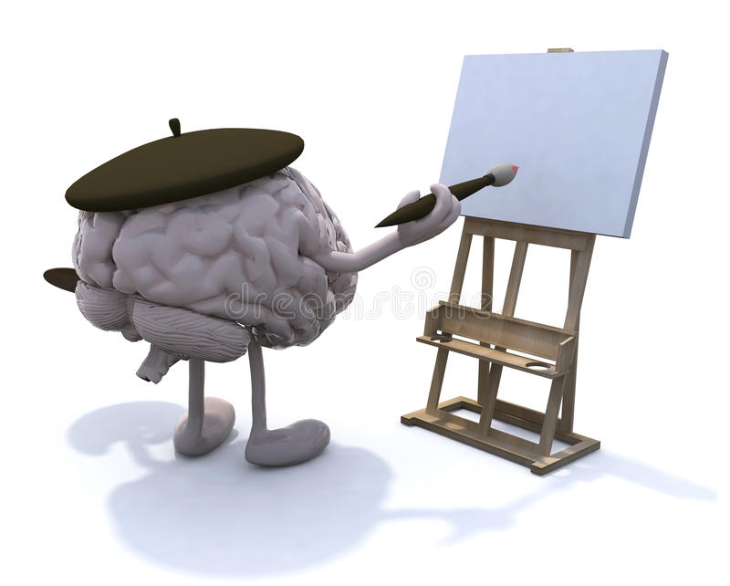 Human Brain With Arms And Legs, Painter Royalty Free Stock Photos