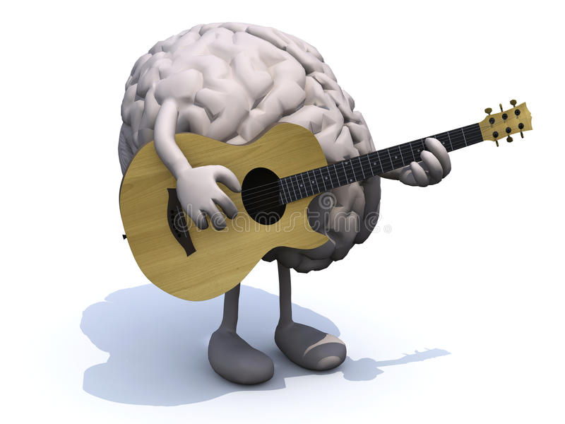 Human Brain With Arms And Legs Playing A Guitar Stock Photos
