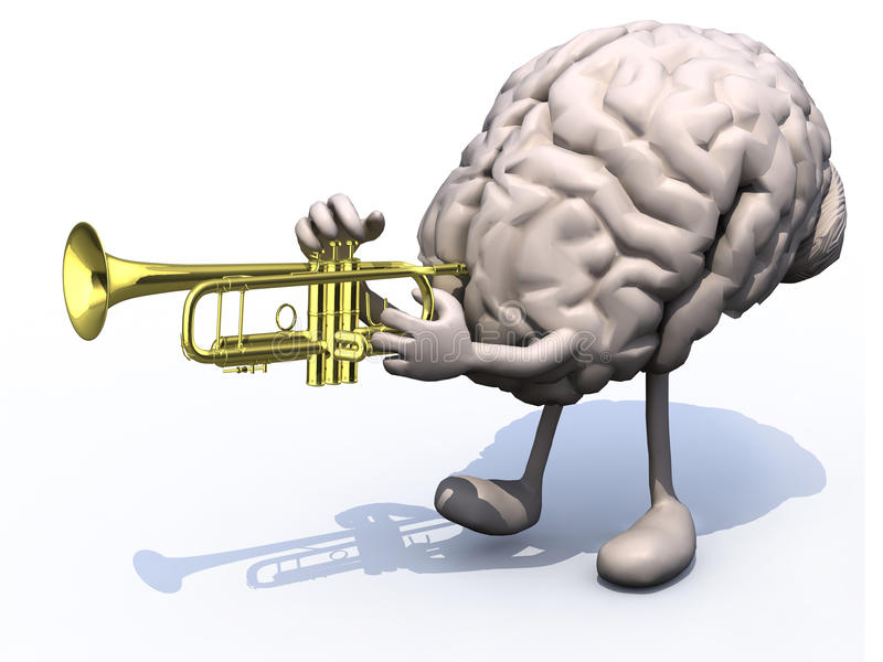 Human brain with arms, legs playng trumpet. 3d illustration vector illustration