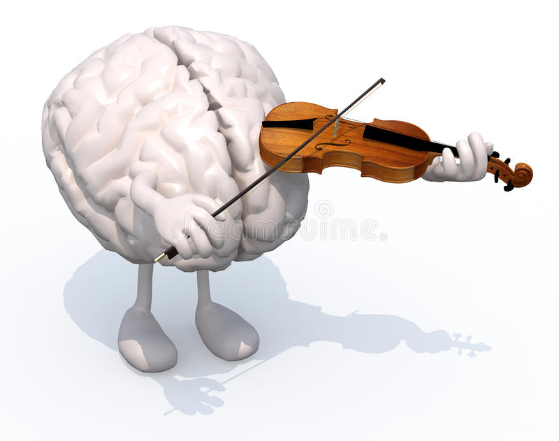Human brain with arms and legs who plays the violin vector illustration