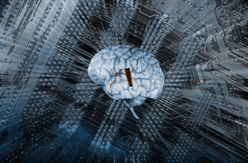 Human brain and artificial intelligence. Artificial intelligence, AI, giant microchip communicating and human brain wave lengths royalty free stock image