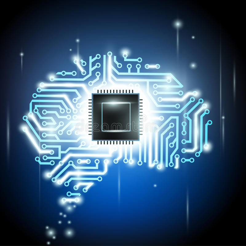 Human brain as a computer chip royalty free illustration