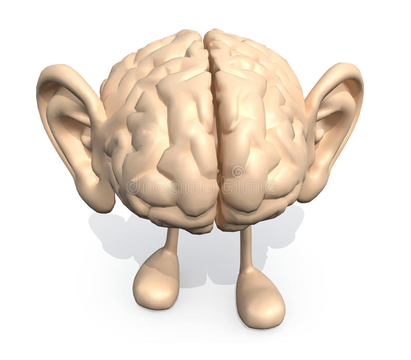 Human brain with big ears and legs stock illustration