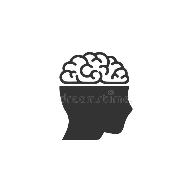 Human brain icon flat vector illustration