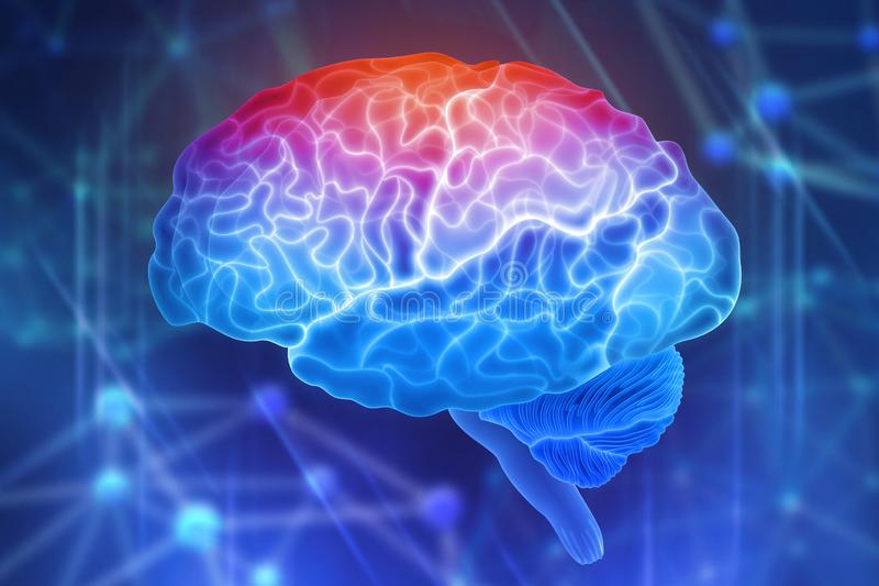 Human brain on a blue background. Active parts of the brain. Creating a computer mind. 3D illustration of the application of innovation in science stock illustration