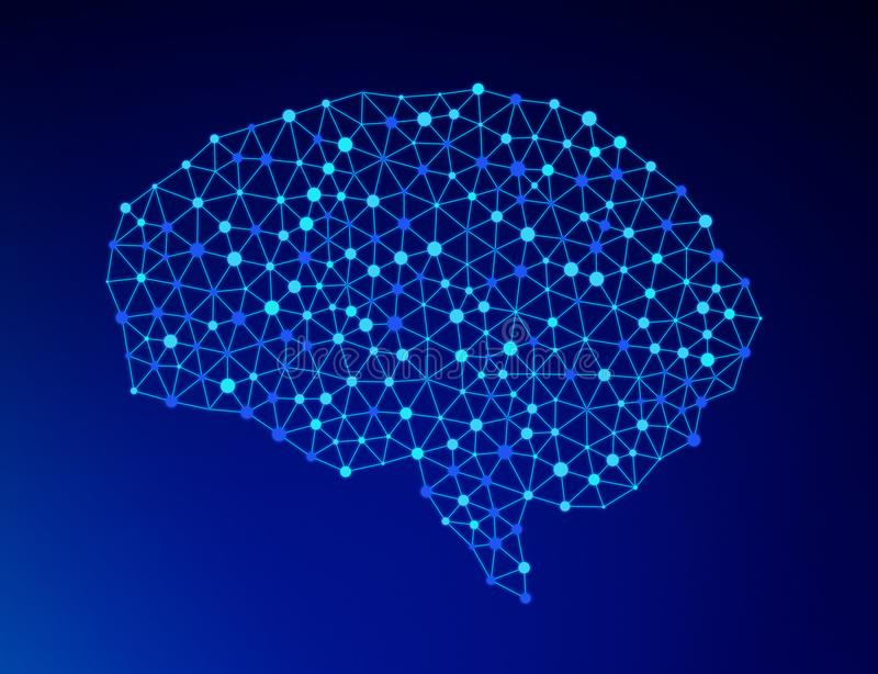 Human brain on blue background in the form of artificial. Intelligence for technology concept, 3d illustration vector illustration