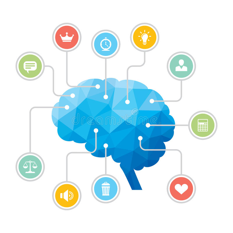 Human Brain - Blue Polygon Infographic Illustration. With Icons for presentation, booklet, website etc vector illustration