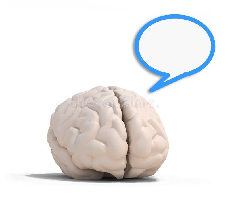 Human brain with blue speech ballon stock illustration