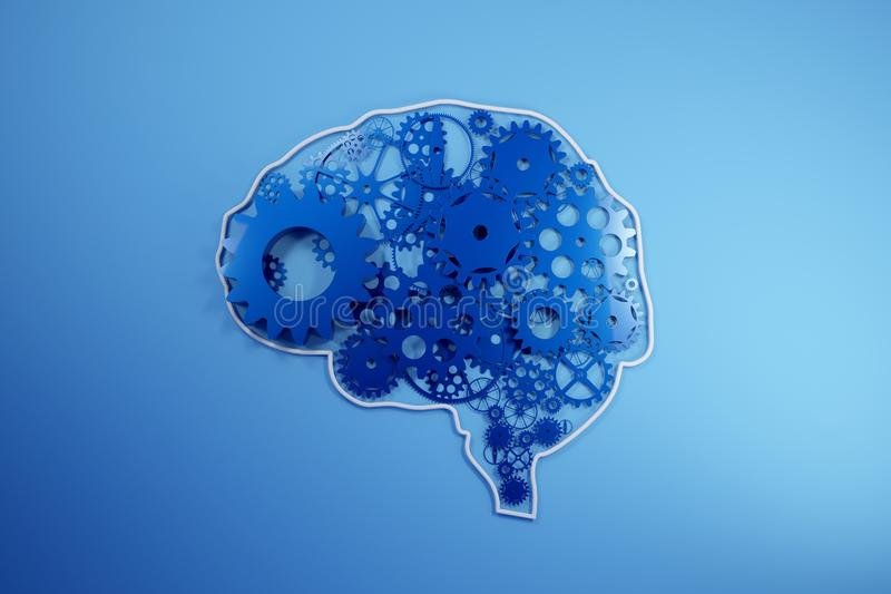 Human brain build out of cogs and gears. Pictograph of gear in head. 3D Rendering, royalty free illustration