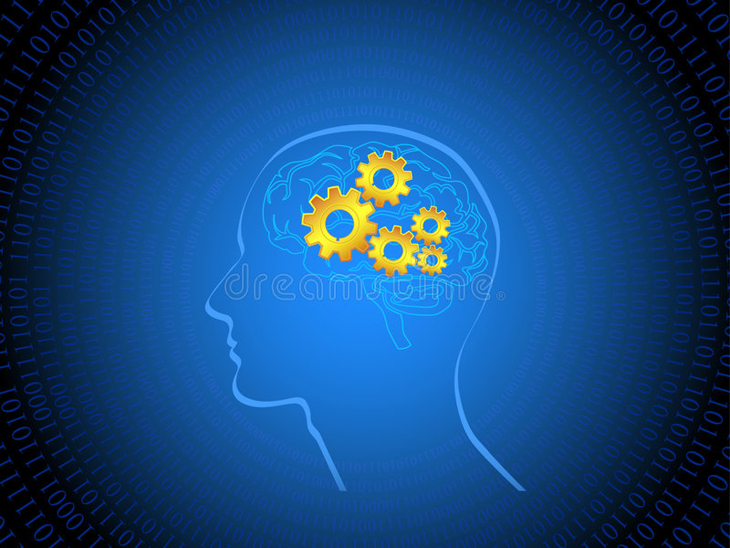 Human Brain With Cogs Stock Photos