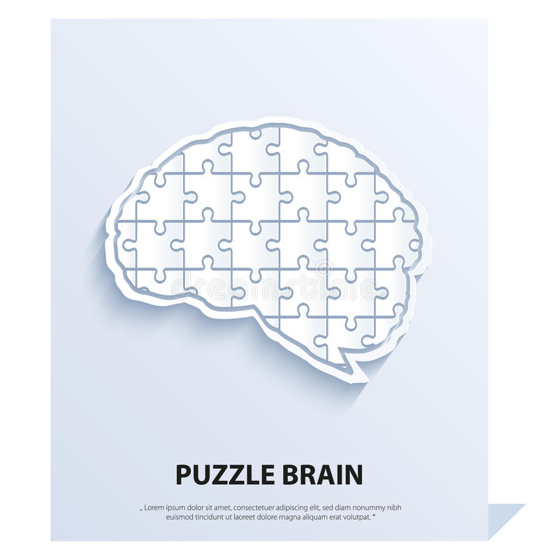 Human brain composed of a puzzle. vector illustration