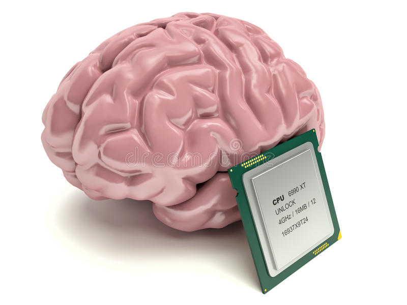 Human brain and computer chip, 3D concept vector illustration