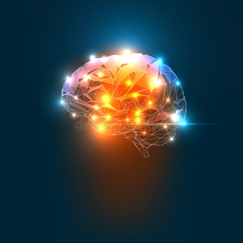 Human Brain. Concept of an Active Human Brain on a Dark Background