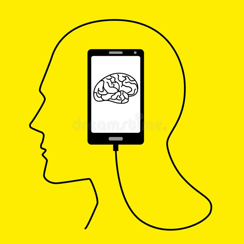 Human head formed from smart phone`s USB cable. Human brain concept graphic, human head formed from smart phone`s USB cable stock illustration