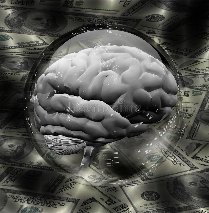 Human Brain with Currency Background royalty free illustration
