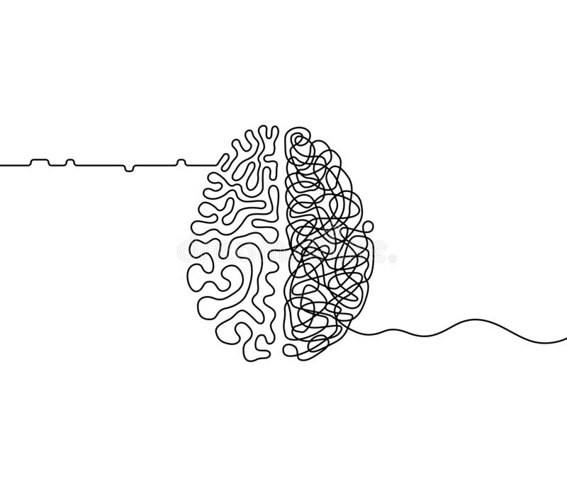 This is a picture of Decisive Brain Line Drawing