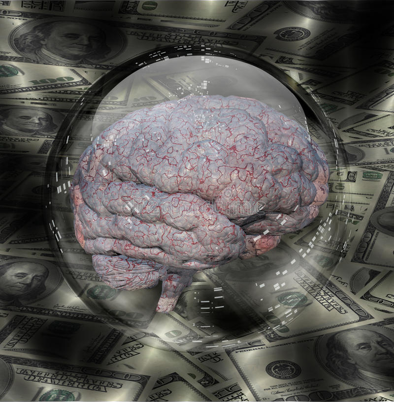Human Brain with Currency vector illustration