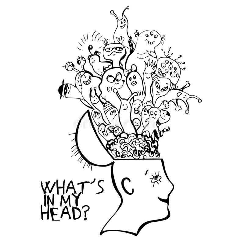 Human brain with cute cartooning monster inside. Concept about what strange things people have in thoughts. Funny. Monster in one branch inside persons brain vector illustration
