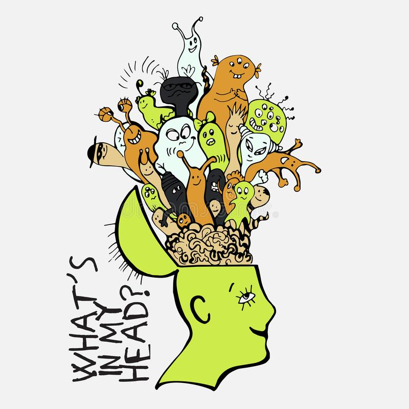 Human brain with cute cartooning monster inside. Concept about what strange things people have in thoughts. Funny. Monster in one branch inside persons brain stock illustration