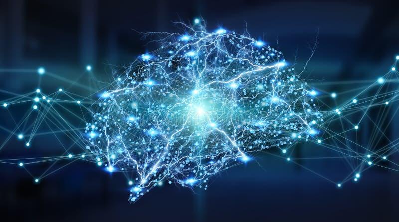 Human brain digital x-ray 3D rendering vector illustration