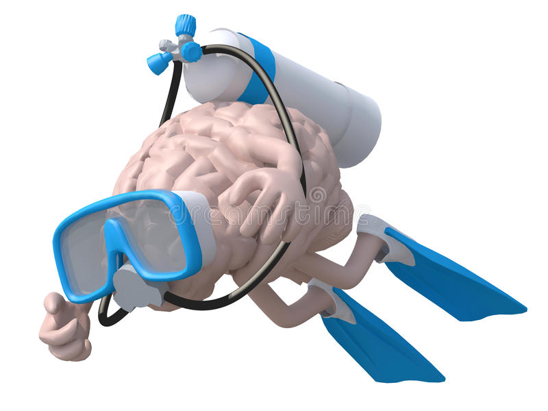 Human brain with diving goggles and flippers. 3d illustration stock illustration