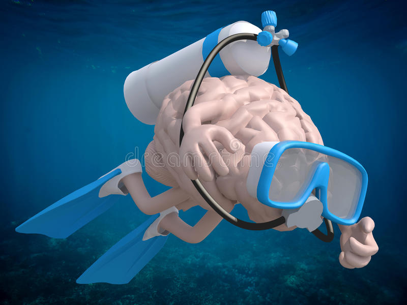 Human brain with diving goggles and flippers. 3d illustration royalty free illustration