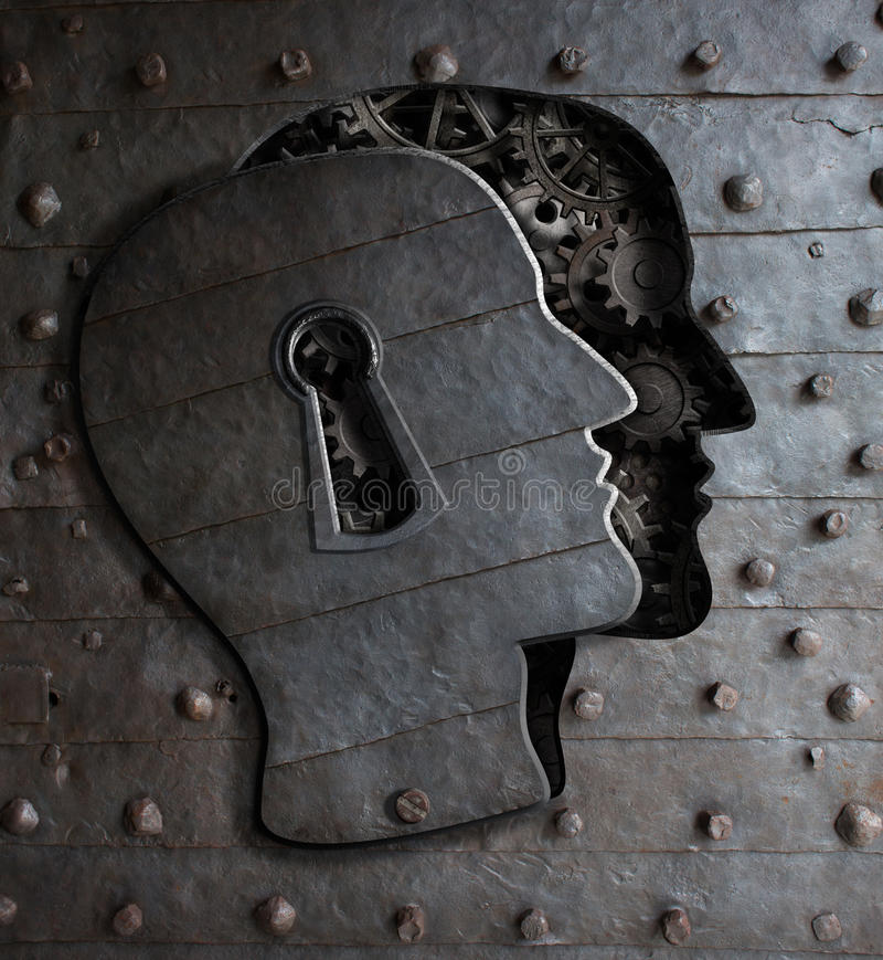 Human brain door with keyhole concept made from metal gears royalty free stock images