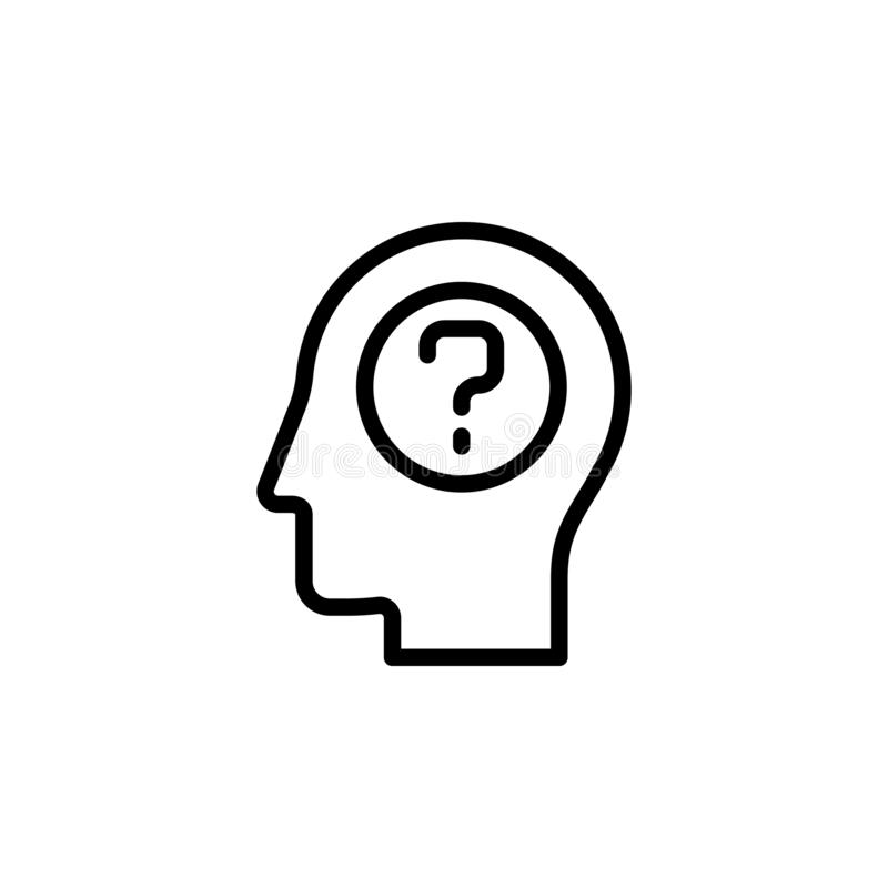 human, brain, education, learning, question icon. Simple thin line, outline vector of Mind process icons for UI and UX, website or vector illustration