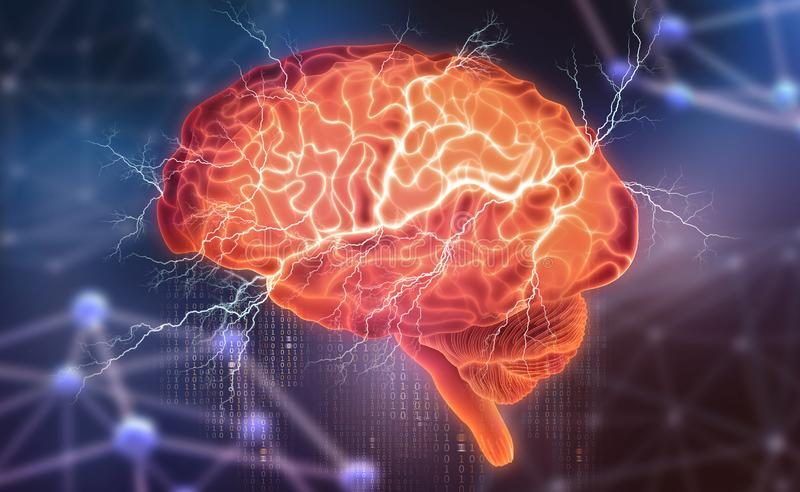 Human brain. Electrical activity. Creating artificial intelligence. 3D illustration on a futuristic background royalty free illustration