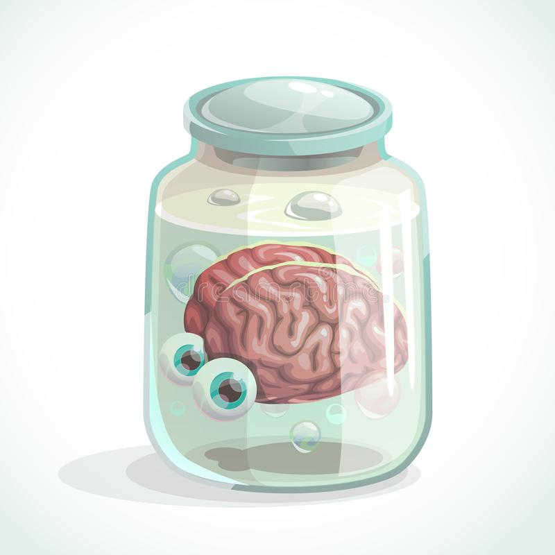 Human brain and eyes in the jar. stock illustration