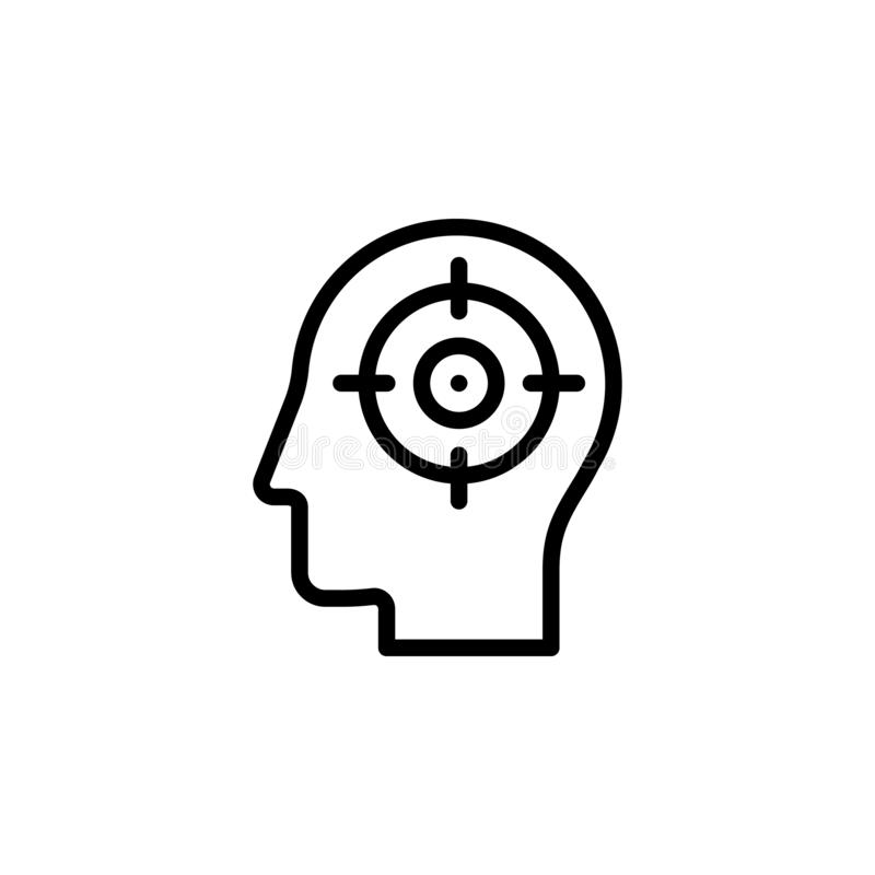 human, brain, focus icon. Simple thin line, outline vector of Mind process icons for UI and UX, website or mobile application stock illustration