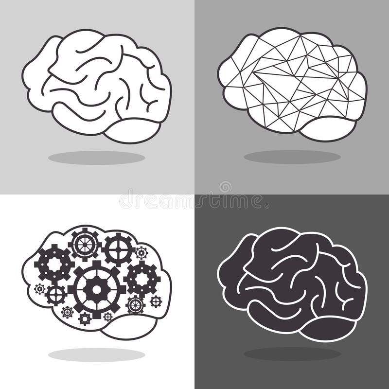 human brain and gears icon image stock illustration