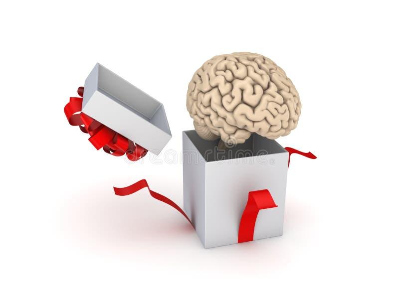 Human Brain At A Gift Box Stock Illustration - Image: 55280048