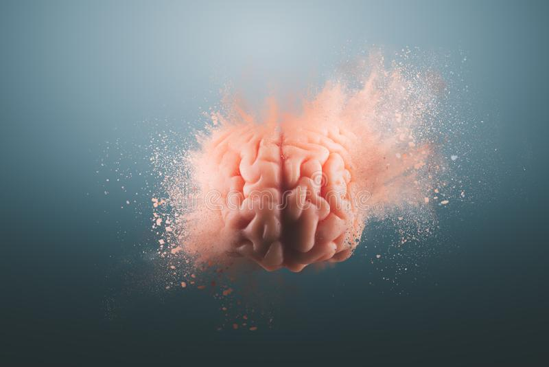 Human brain on a gray background. Human brain floating on a gray background. mind blown concept royalty free stock image