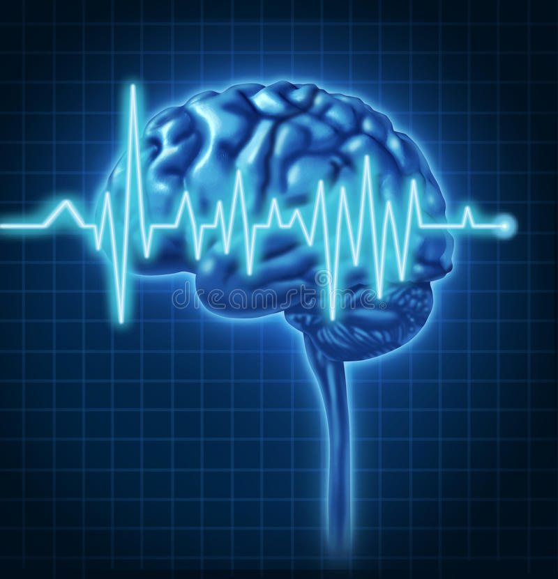 Human Brain Health with ECG. Human Brain ECG Health monitoring of the electrical signals that cause seizures and other problems in the human mind and charting stock illustration