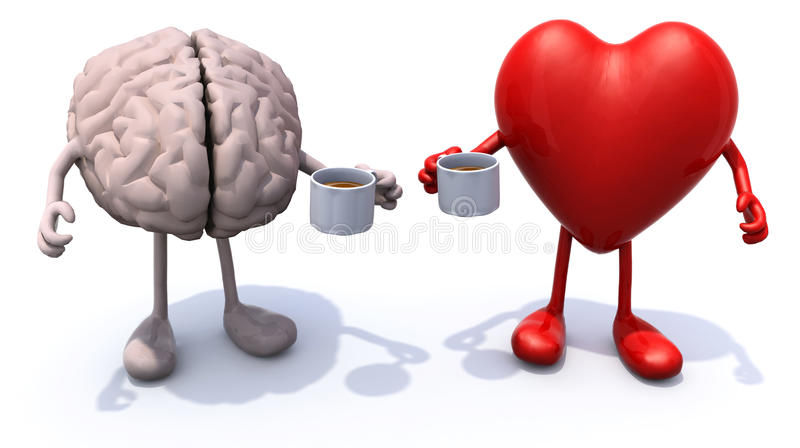 Human brain and heart with arms and legs and cup of coffee royalty free stock image