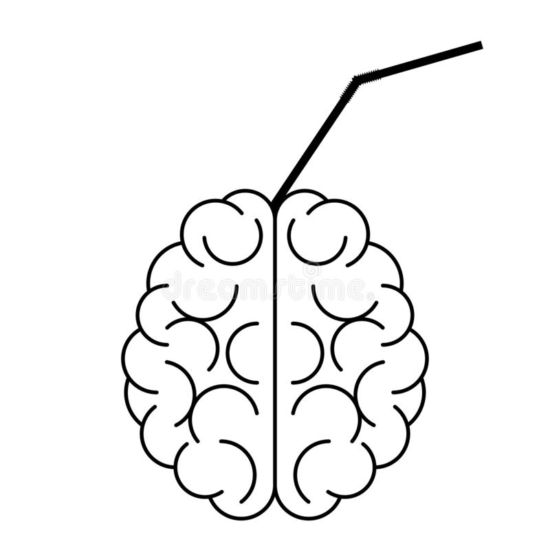 Brain icon with cocktail pipe in it vector illustration