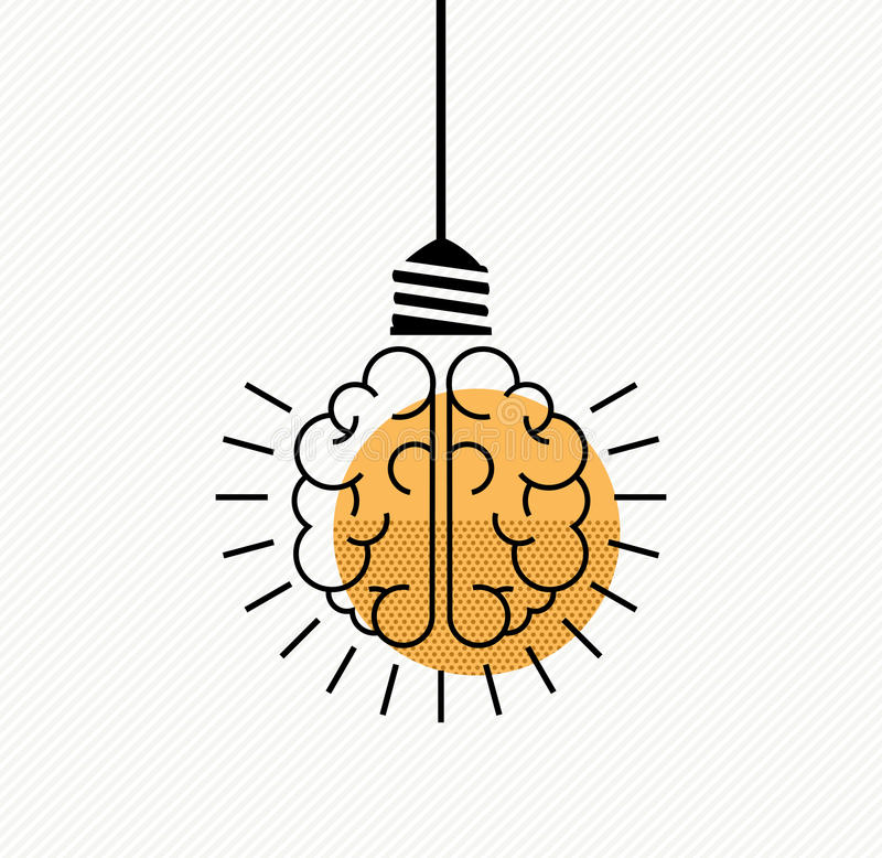 Human brain idea concept in modern line art style vector illustration